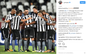 Pimpão responde torcedor do Flamengo no Instagram