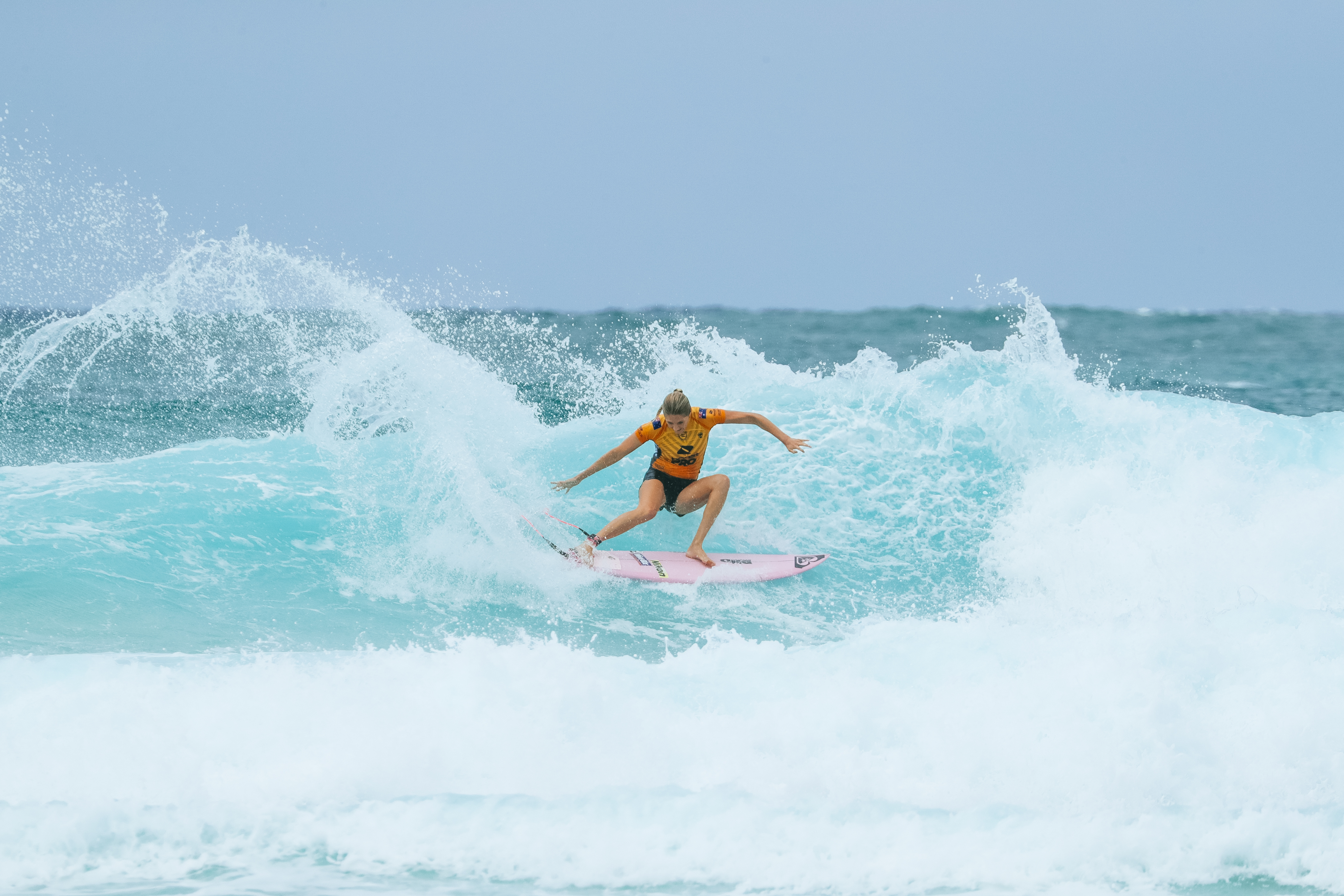 QUEENSLAND, AUSTRALIA - APRIL 5: 7X World Champion Stephanie Gilmore of Australia advances to the quarter finals of the 2019 Boost Mobile Pro Gold Coast after winning Heat 1 of Round 3 at Snapper Rocks on April 5, 2019 in Queensland, Australia. (Photo by Kelly Cestari/WSL via Getty Images)